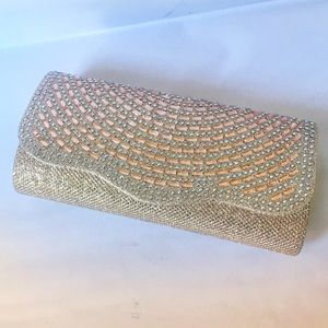Rose Gold Clutch with removable chain strap